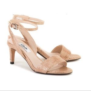 Clarks rose gold leather sandals
